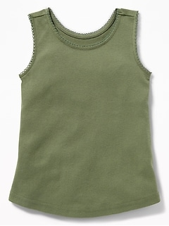 Picot-Trim Tank for Toddler Girls