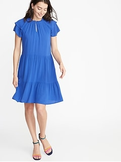 0cacd88690 High-Neck Ruffle-Trim Swing Dress for Women