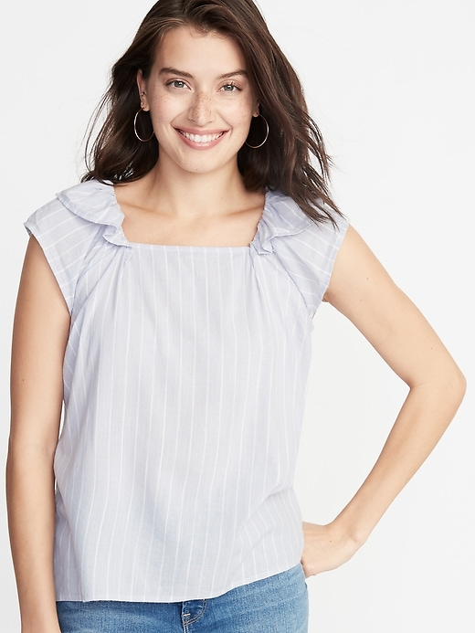 Striped Square Neck Flutter Sleeve Top For Women by Old Navy