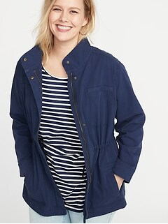 Soft-Washed Canvas Plus-Size Utility Jacket