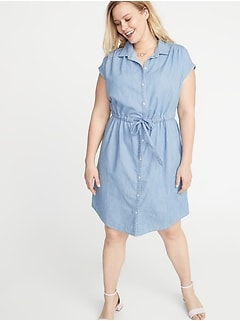 Chambray Cinch-Tie Plus-Size No-Peek Shirt Dress