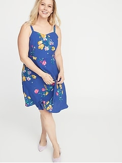 Plus-Size Fit & Flare Floral Cami Dress