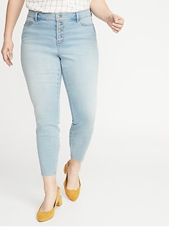 High-Rise Secret-Slim Pockets Button-Fly Plus-Size Rockstar Ankle Jeans
