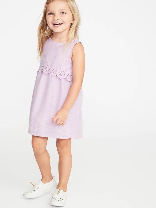 Tiered Eyelet Shift Dress for Toddler Girls
