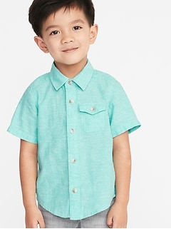 68bffd879b27 Linen-Blend Chest-Pocket Shirt for Toddler Boys