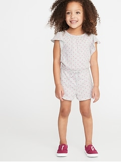 Printed Slub-Knit Jersey Romper for Toddler Girls