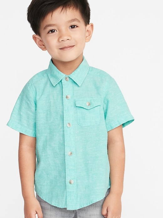 Linen Blend Chest Pocket Shirt For Toddler Boys by Old Navy