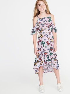 Butterfly-Print Cold-Shoulder Midi for Girls