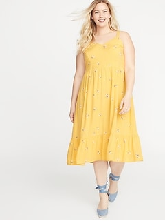 Plus-Size Fit & Flare Tiered Cami Midi Dress
