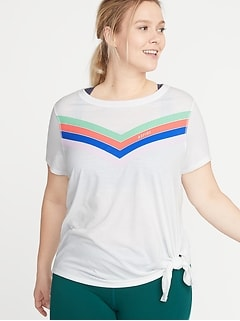 Graphic Side-Tie Plus-Size Performance Tee
