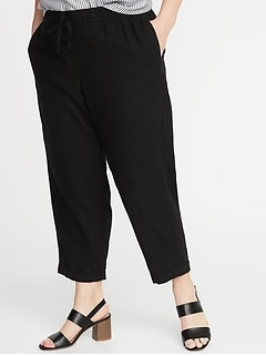 3c6c81de090 Mid-Rise Plus-Size Linen-Blend Cropped Pants