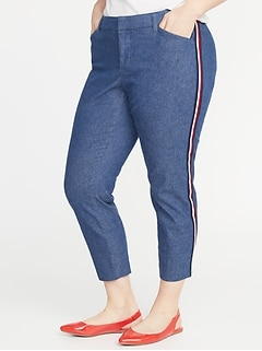 Mid-Rise Secret-Slim Pockets Plus-Size Side-Stripe Pixie Pants