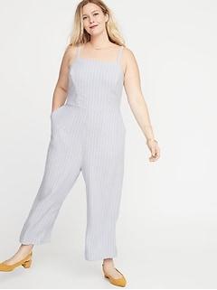 7e98210b8dc8 Sleeveless Linen-Blend Plus-Size Cropped Jumpsuit
