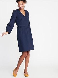 Waist-Defined Wrap-Front Dress for Women