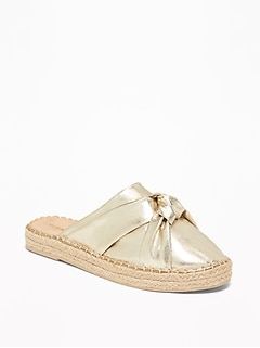 Knotted Metallic Faux-Leather Espadrille Slide Sandals for Women