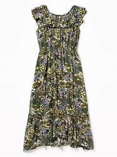 Ruffled Floral-Print Waist-Defined Midi for Girls