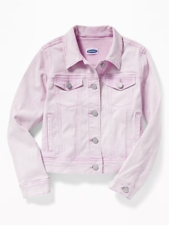 Lilac-Wash Jean Jacket For Girls