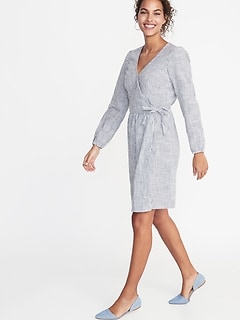 Waist-Defined Patterned Wrap-Front Dress for Women