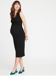 Maternity Twist-Front Bodycon Tank Dress