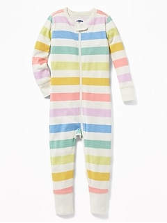 Rainbow-Stripe One-Piece Sleeper For Toddler Girls & Baby