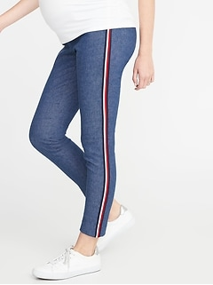 Maternity Side-Panel Pieced-Stripe Pixie Pants