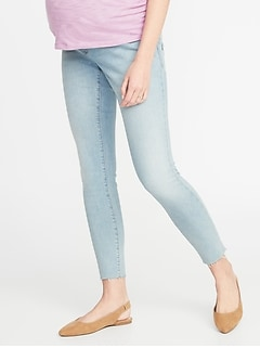 Maternity Premium Full Panel Rockstar Raw-Edge Jeans