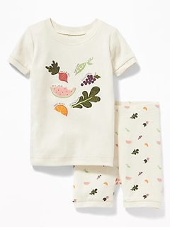 Fruits & Veggies Graphic Sleep Set For Toddler & Baby