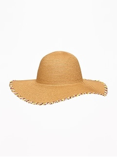 Fringed Straw Sun Hat For Toddler Girls