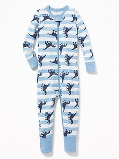 Dinosaur-Print One-Piece Sleeper For Toddler Boys & Baby