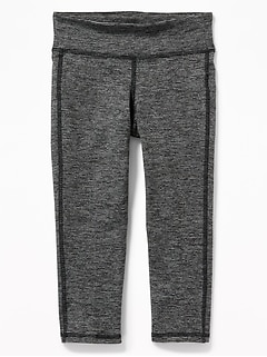 Mid-Rise Go-Dry Micro-Stripe Cropped Leggings for Girls