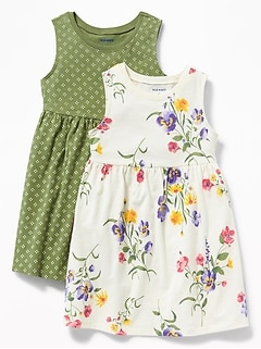 Floral-Print Jersey Fit & Flare Dress 2-Pack for Toddler Girls