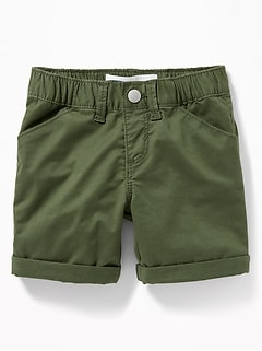 Cuffed Twill Bermudas for Toddler Girls