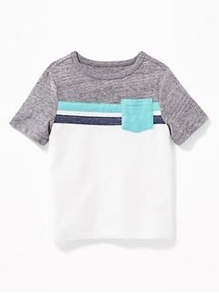 Color-Blocked Pieced-Stripe Pocket Tee for Toddler Boys