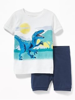 Dinosaur-Graphic Sleep Set For Toddler & Baby