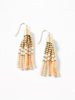 Multi-Colored Beaded Tassel Drop Earrings for Women