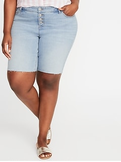 Mid-Rise Secret-Slim Pockets Button-Fly Plus-Size Denim Bermudas - 9-inch inseam