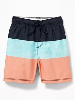 Functional Drawstring Color-Blocked Swim Trunks for Toddler Boys