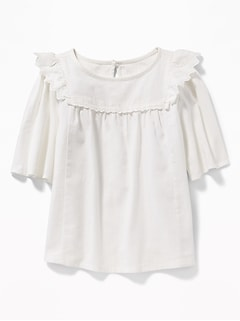 Zig-Zag Ruffle Swing Top for Girls