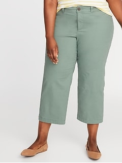 High-Waisted Secret-Slim Pockets Plus-Size Wide-Leg Chinos