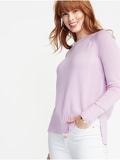 Rib-Knit Trim Crew-Neck Sweater for Women
