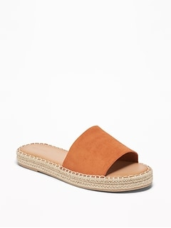 Faux-Suede Slide Espadrille Sandals for Women