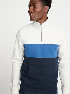 Color-Blocked Mock-Neck 1/4-Zip Pullover for Men