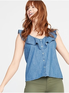 Ruffle-Trim Button-Front Chambray Blouse for Women