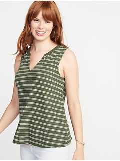 Relaxed Striped Linen-Blend Tank for Women