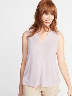 Relaxed Linen-Blend Tank for Women