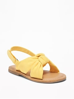 Twisted Faux-Suede Sandals For Toddler Girls