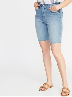 High-Rise Secret-Slim Pockets Distressed Denim Bermudas for Women - 9-inch inseam