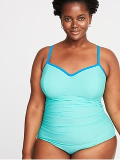 Secret-Slim Bandeau Plus-Size Swimsuit