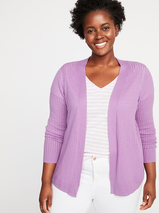 Short Open-Front Plus-Size Pointelle Sweater