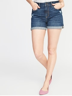 High-Rise Secret-Slim Pockets Distressed Denim Shorts for Women - 3-inch inseam